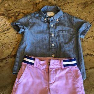 Crewcuts chambray shirt and Janie Jack shorts 3T